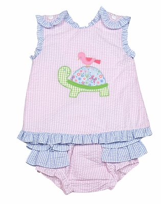 Petit Ami Baby Girls Pink / Blue Seersucker Ruffle Bloomers Set with Turtle
