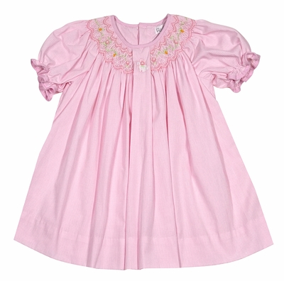 Petit Ami Baby Girls Pink Check Smocked Easter Bunny Dress with Bloomers