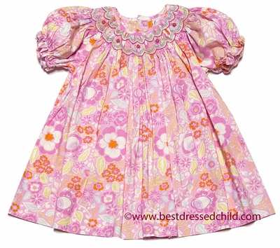 Petit Ami Baby / Toddler Girls Pink / Peach Floral Smocked Easter Dress