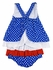 Petit Ami Baby Girls Royal Blue / White Dots / Red Crab Ruffled Bloomers Set