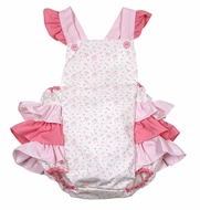 Petit Ami Baby Girls Shade of Pink Floral / Gingham Ruffle Backside Bubble