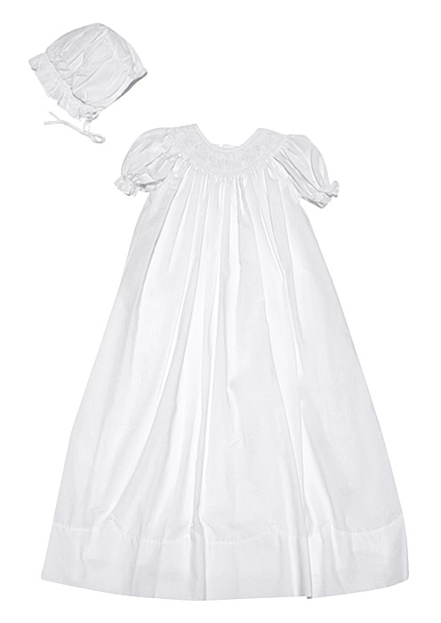 Petit Ami Baby Girls Smocked White Christening Gown with Bonnet