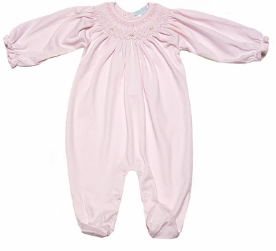 Petit Ami Baby Girls Soft Pink Knit Smocked Footie