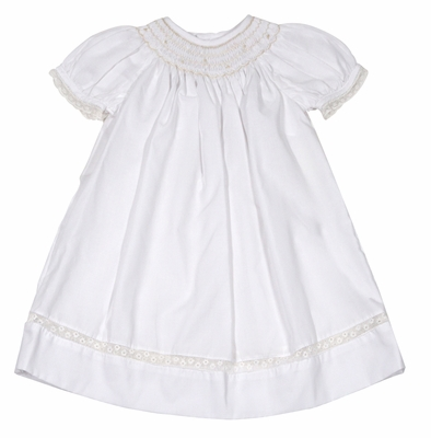 Petit Ami Baby Girls Sweet White Bishop Day Gown - Smocked in Ivory - Lace Trims