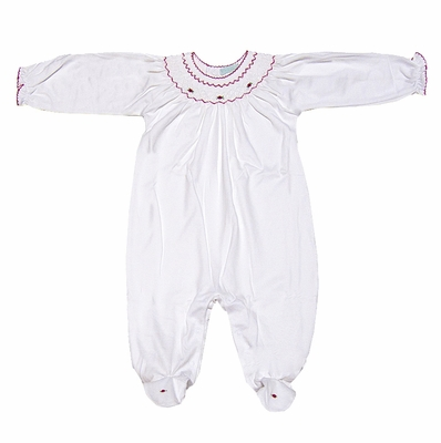 Petit Ami Baby Girls Sweet White Footie - Smocked in Red for Christmas
