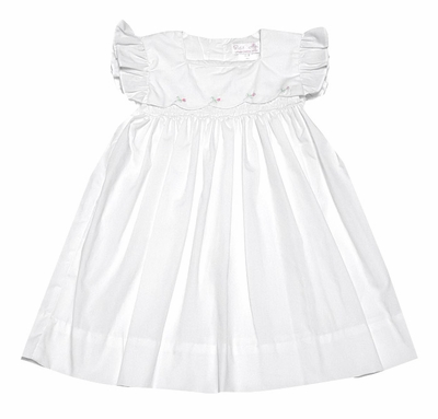 Petit Ami Baby Girls White Smocked Dress with Flutter Sleeves - Embroidery Flowers
