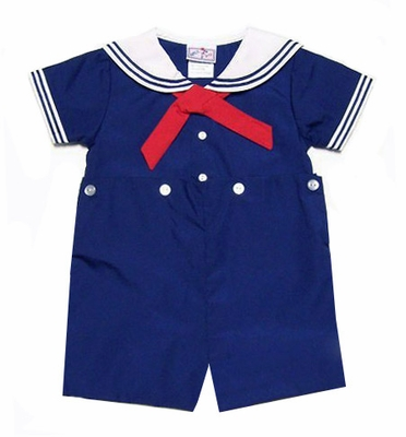 Petit Ami Baby Toddler Boys Sailor Suit Romper Button On