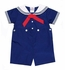 Petit Ami Baby / Toddler Boys Sailor Suit Romper Button On - Navy Blue