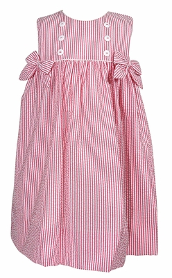 Petit Ami Baby / Toddler Girls Hot Pink Seersucker Sleeveless Dress with Bows