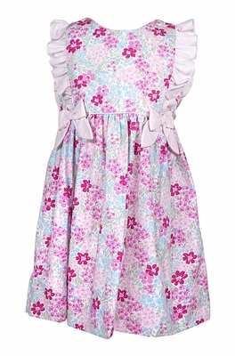 Petit Ami Baby / Toddler Girls Floral Pinafore Dress with Bows - Pink / Blue