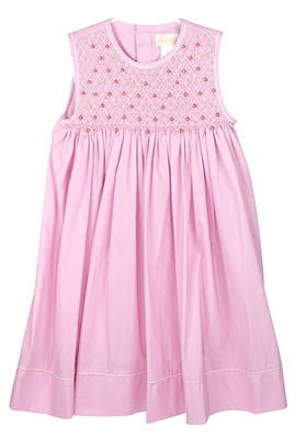 Petit Ami Girls Sleeveless Pink Dress - Smocked Bodice with Embroidery