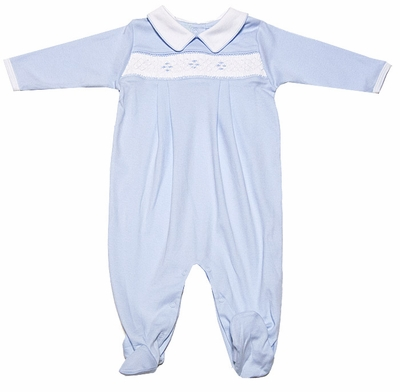 Petit Ami Infant Baby Boys Blue Smocked Footie Romper with Collar