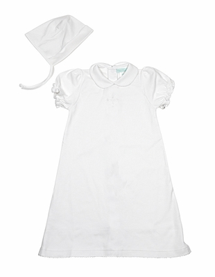 Petit Ami Infant Baby Girls Soft White Daygown with Bonnet - Embroidered Cross