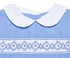 Petit Ami Infant Boys Blue Micro Check Smocked Romper