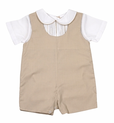 Petit Ami Infant Boys Embroidered Tan Flax Romper Outfit