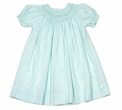 Petit Ami Infant Girls Spring Mint Green Smocked Bishop Dress
