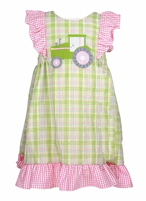 Petit Ami Infant / Toddler Girls Green Plaid Tractor Dress - Pink Ruffles