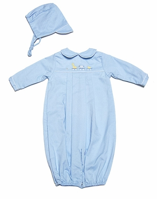 Petit Ami Newborn Baby Boys Light Blue Toy Animals Parade Convertible Gown / Romper with Hat