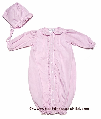 Petit Ami Newborn Baby Girls Pink Ruffled Gown with Bonnet