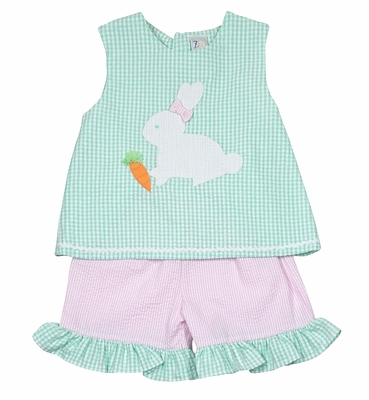 Petit Ami Toddler Girls Mint Green Check Easter Bunny / Pink Check Shorts Set