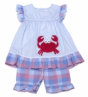 Petit Ami Toddler Girls Red Crab Top with Blue / Red Plaid Shorts