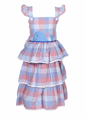 Petit Ami Toddler Girls Ruffle Sun Dress with Applique Whale - Red / Blue Plaid