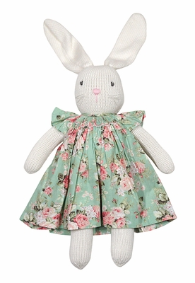 Petit Ami White Knit Easter Bunny Toy Wearing Green / Pink Floral Smocked Dress