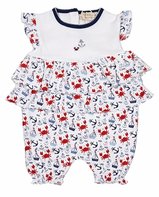 Petit Ami Zubels Baby Girls Navy Blue / Red Crabs & Anchors Print French Bubble with Ruffles