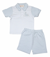 Petit Ami Zubels Baby / Toddler Boys Blue Stripe Knit Easter Bunny Shorts Set