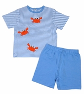Petit Ami Zubels Baby / Toddler Boys Blue Striped Crabs Shorts Set