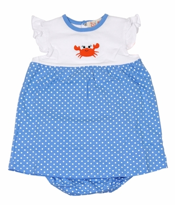 Petit Ami Zubels Baby / Toddler Girls Blue / White Dots Crab Dress Set with Bloomers