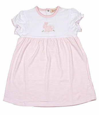 Petit Ami Zubels Baby / Toddler Girls Pink Stripe Knit Easter Bunny Dress
