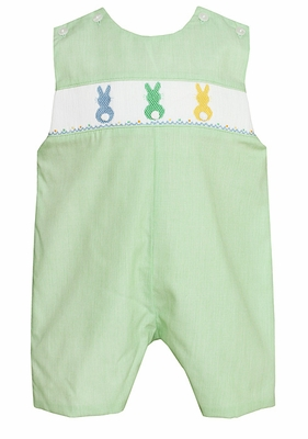 Petit Babe Infant / Toddler Boys Green Smocked Colorful Cottontail Bunnies Shortall