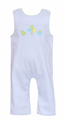 Petit Bebe Baby Boys Blue Gingham Happy Birthday Applique Longall