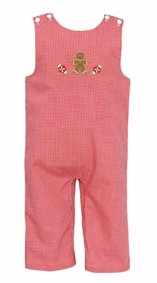 Petit Bebe Baby Boys Red Check Gingerbread Man Longall