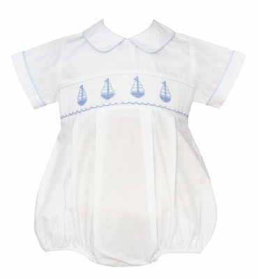 Petit Bebe Baby Boys White Smocked Blue Sailboats Bubble with Collar