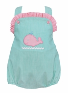 Petit Bebe Baby Girls Aqua Stripe Bubble - Pink Whale