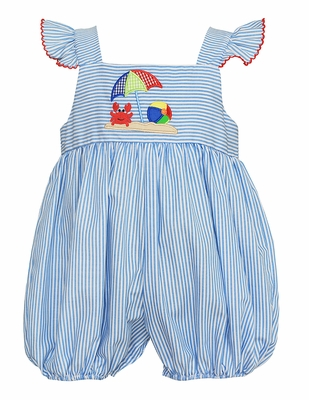 Petit Bebe Baby Girls Blue Stripe Applique Beach Crab Bubble