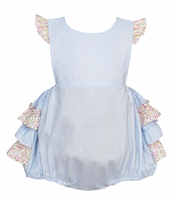 Petit Bebe Baby Girls Blue Striped Bubble - Pink Floral Ruffles