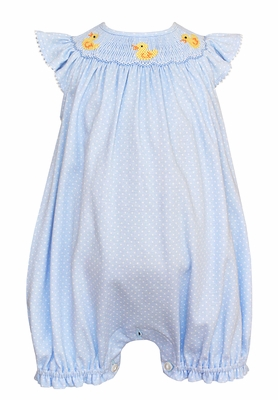Petit Bebe Knits Baby Girls Blue / White Dots Smocked Baby Ducks Bubble - Ruffles on Back