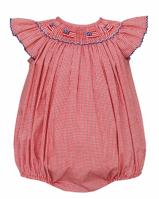 Petit Bebe Baby Girls Red Check Smocked Patriotic Flags Bubble