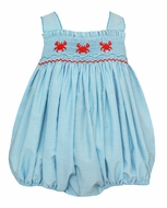 Petit Bebe Baby Girls Turquoise Stripe Smocked Crabs Bubble