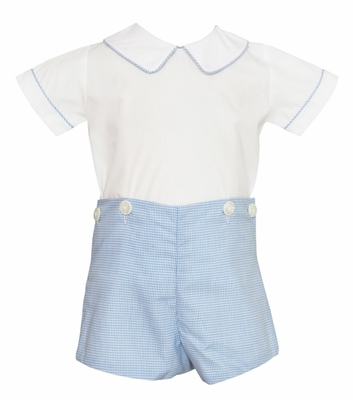Petit Bebe Baby / Toddler Boys Blue Check Button On Shorts Outfit