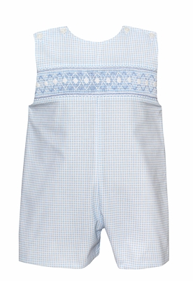 Petit Bebe Baby / Toddler Boys Blue Check Smocked Argyle Jon Jon