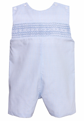 Petit Bebe Baby / Toddler Boys Blue Mini Check Smocked Shortall