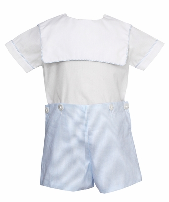 Petit Bebe Baby / Toddler Boys Blue Stripe Button On Shorts Outfit with Square Collar