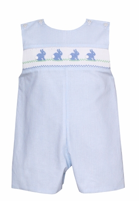 Petit Bebe Baby / Toddler Boys Blue Striped Smocked Easter Bunny Jon Jon