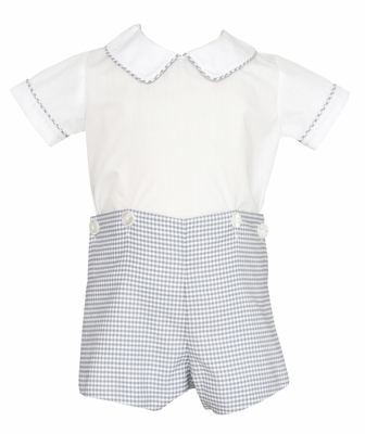 Petit Bebe Baby / Toddler Boys Gray Check Button On Shorts Outfit