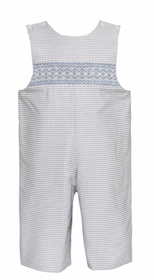 Petit Bebe Baby / Toddler Boys Grey Check Longall - Smocked in Blue