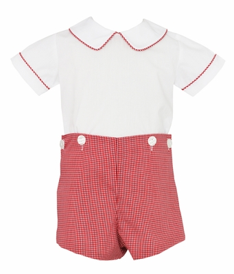 Petit Bebe Baby Boys Red Check Button On Short Set